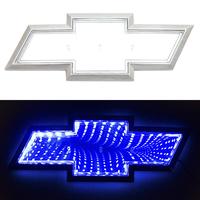 3D логотип Chevrolet (шевроле) 200х65мм с синей подсветкой