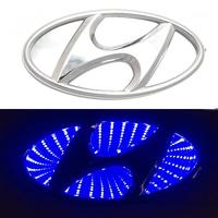 3D логотип Hyundai (Хендай) 130х64мм с синей подсветкой