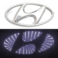 3D логотип Hyundai (Хендай) 145х72мм с белой подсветкой
