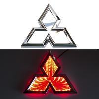 3D логотип Mitsubishi (Митсубиси) 102х117мм с красной подсветкой