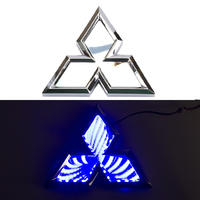 3D логотип Mitsubishi (Митсубиси) 102х117мм с синей подсветкой