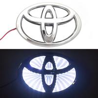 3D логотип Toyota (Тойота) 110х75мм с белой подсветкой
