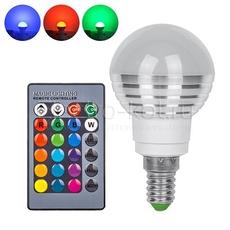 RGB LED лампа с дистанционным пультом управления 220В Е14 рассеивающая полусфера