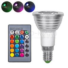 Светодиодная RGB лампа с пультом 220В Е14 направленного свечения spot