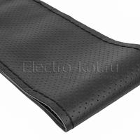 Оплетка на руль на шнуровке с перфорацией натуральная кожа черная D 38