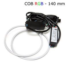 Многоцветные RGB COB ангельские глазки 140 мм - комплект 2 шт