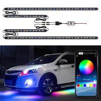 Подсветка днища авто ElectroKot светодиодная RGB управление смартфоном комплект 4 модуля