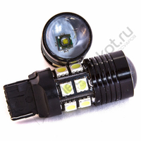 Светодиодная LED лампа 12 SMD 5050 +Cree R5 7440 - Т20 - W21W - EuroLight
