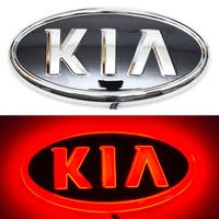 4D логотип KIA (КИА) 130х65 мм красный