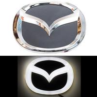 4D логотип Mazda (Мазда) 125х100 мм белый