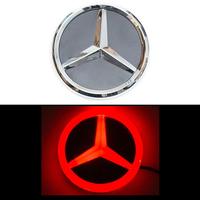 4D логотип Мерседес (Mercedes) 95 мм красный