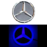 4D логотип Мерседес (Mercedes) 95 мм синий
