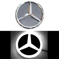 4D логотип Мерседес (Mercedes) 95 мм белый