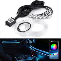 Контурная подсветка салона авто LED RGB BT управление телефоном 6 модулей