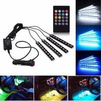 RGB подсветка ног и салона авто со звуковым контроллером 4 модуля 36 LED ИК-пульт